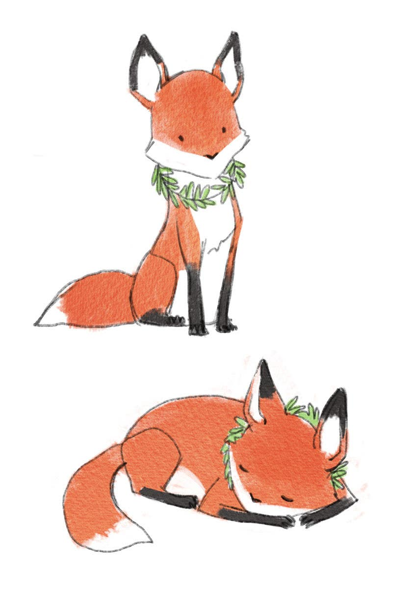 watercolor paint two baby fox illustrations to be used in