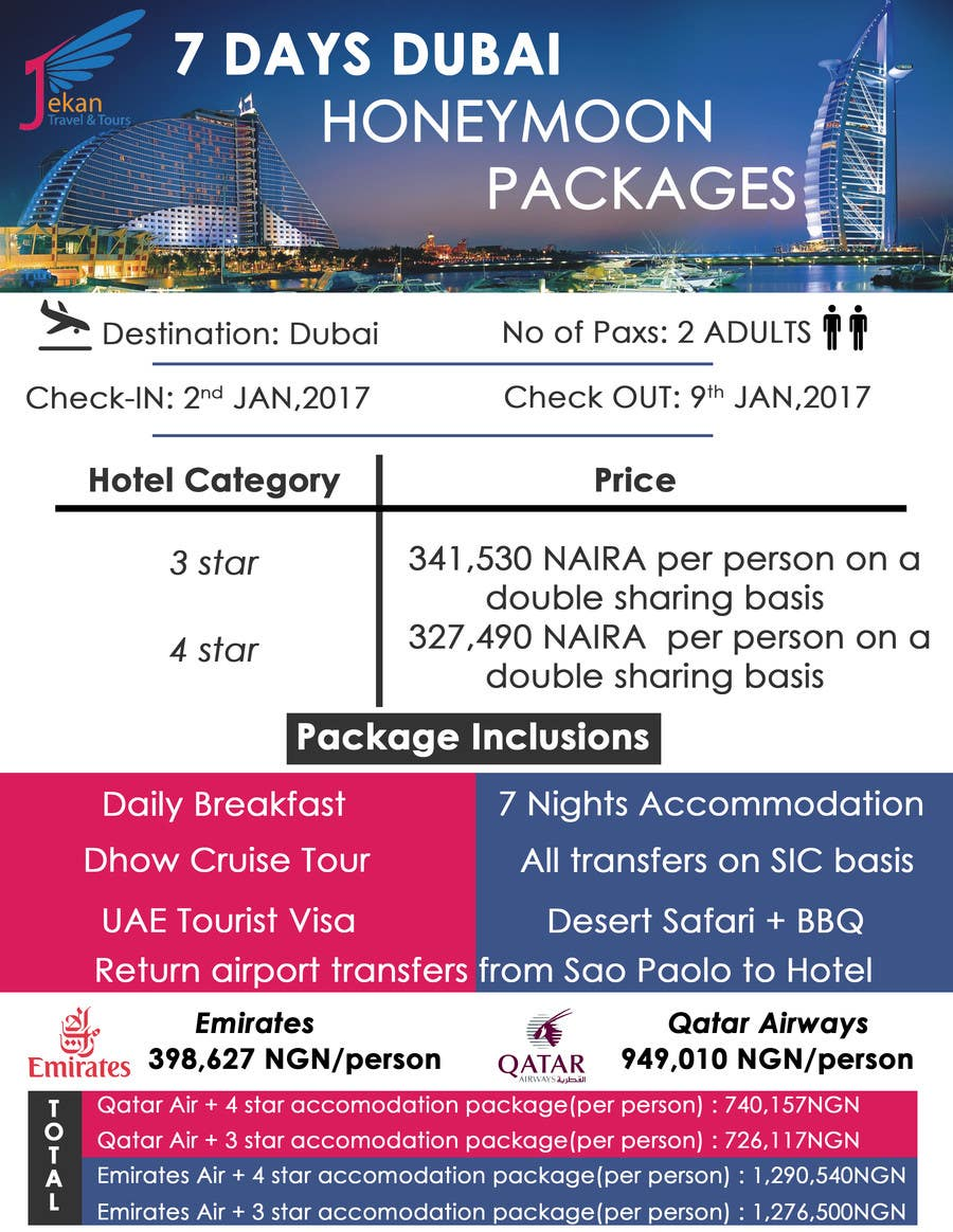 Contest Entry 2 For DESIGN HONEYMOON PACKAGE BROCHURE