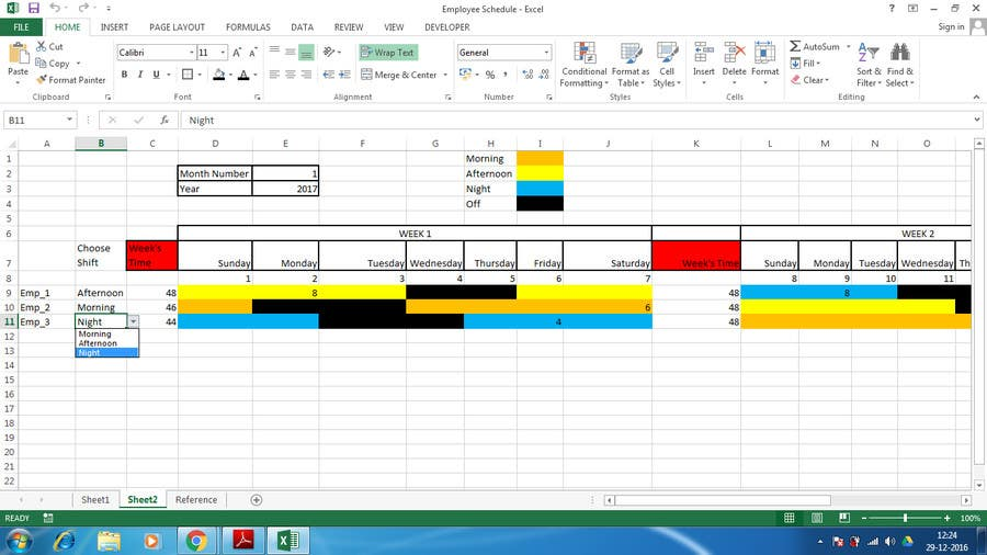 entry 6 by kushagra101293 for customized 24 7 shift scheduler using