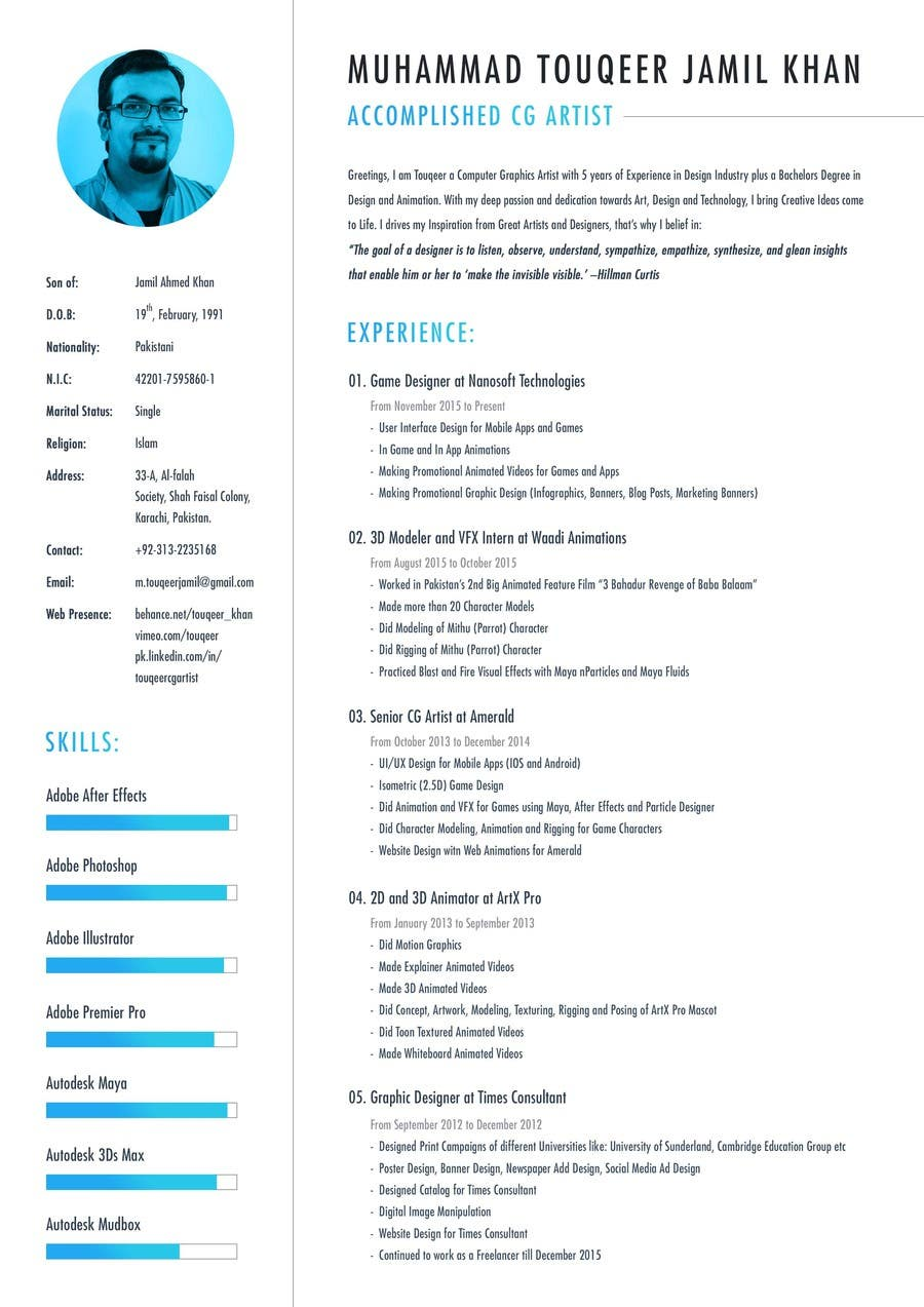 Entry #36 by touqeerjamil for Design a Resume Template ...