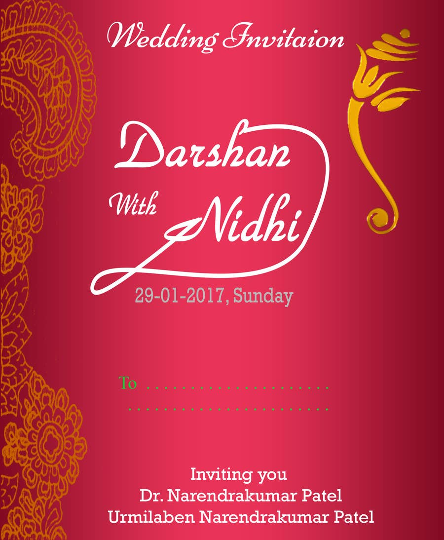 Entry #14 by Kanaylal for Hindu wedding Invitation card | Freelancer