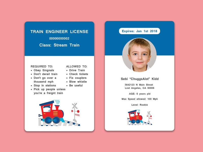 Entry  By Bivash For Create Train Conductor Id Card For Kids