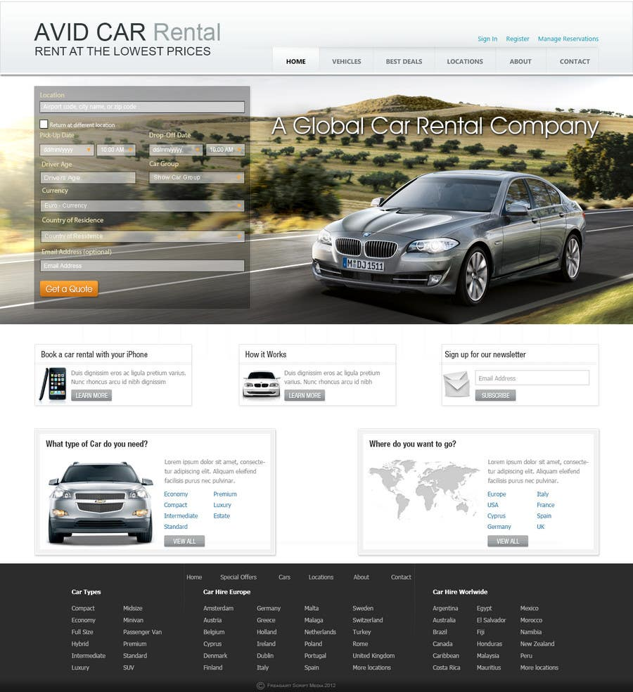 Inscrição nº                                         62                                      do Concurso para                                         Website Design for Avid Car Hire