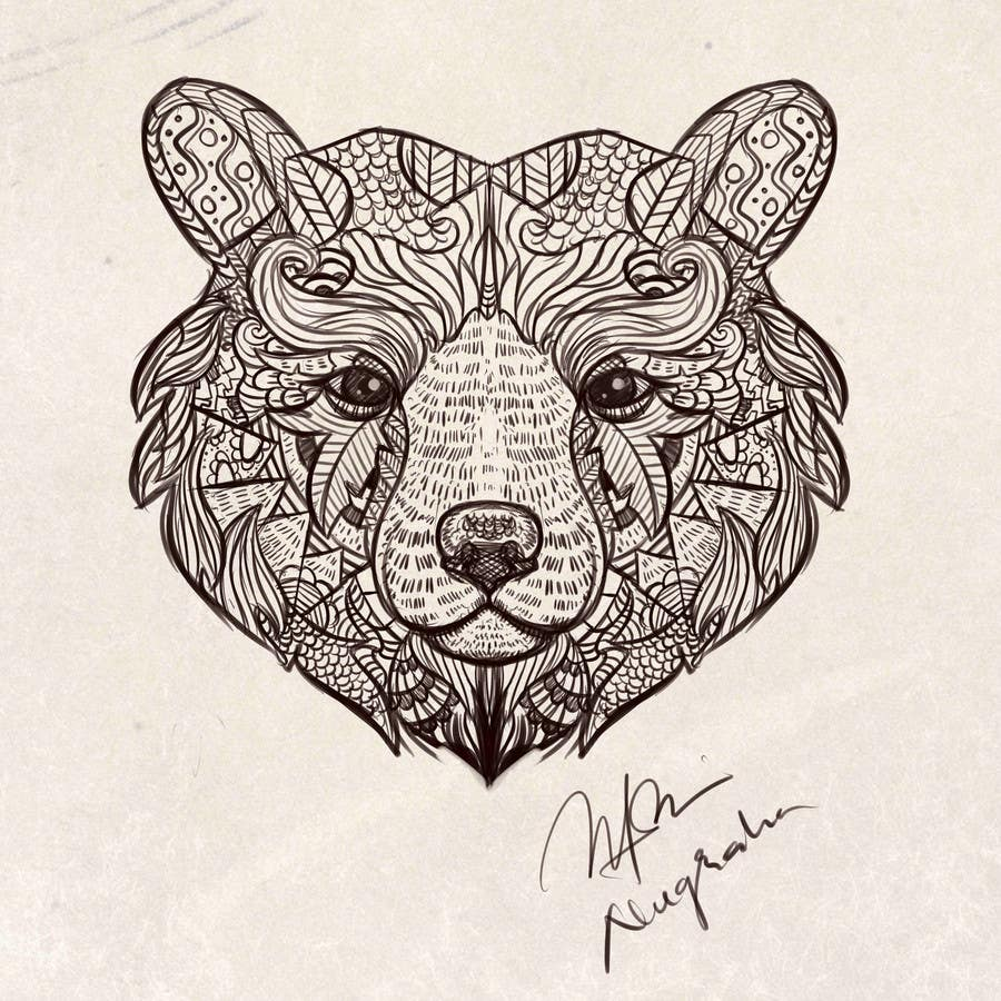 #3 para Handrawn Artistic Bear (head only) Design de nugrahanugraha