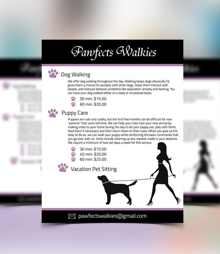 design a flyer for dog walking company lancer 8 for design a flyer for dog walking company by graphichat
