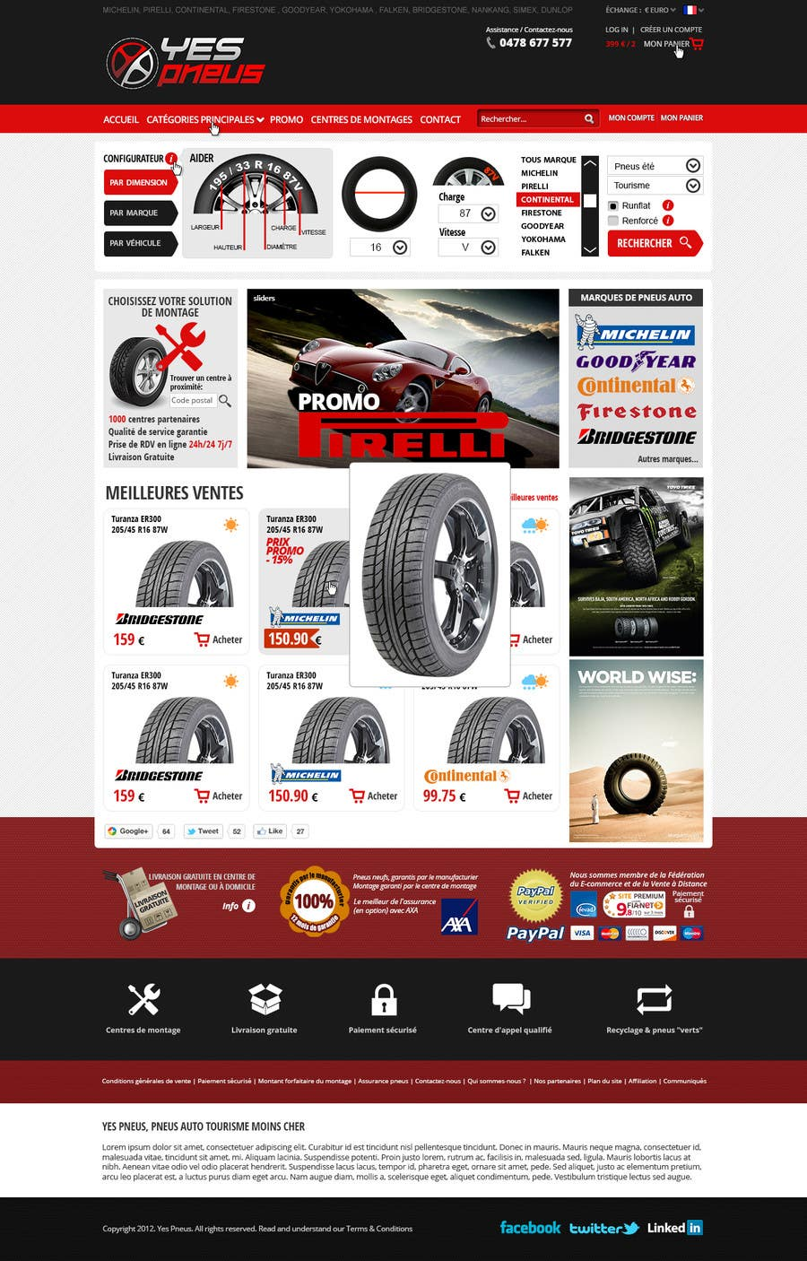 #19 for Website Design for Tyres by hipnotyka