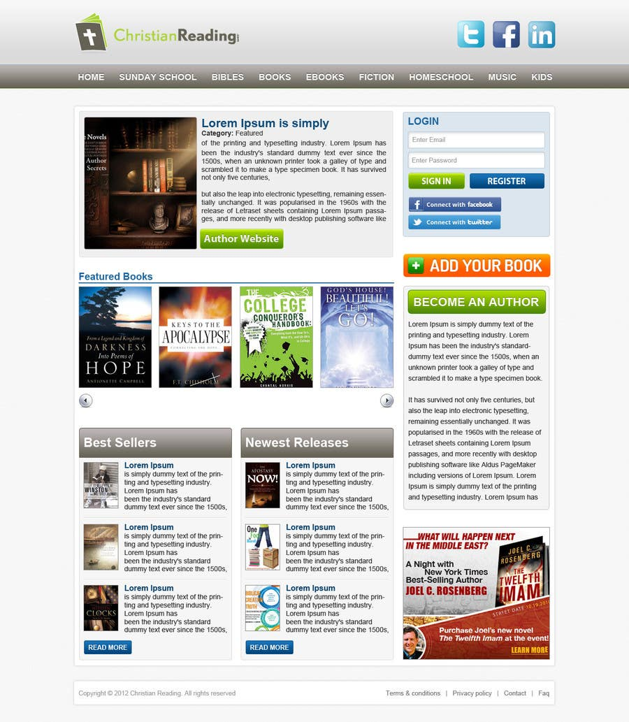 Contest Entry #                                        53                                      for                                         Christian Reading Website Home Page Design