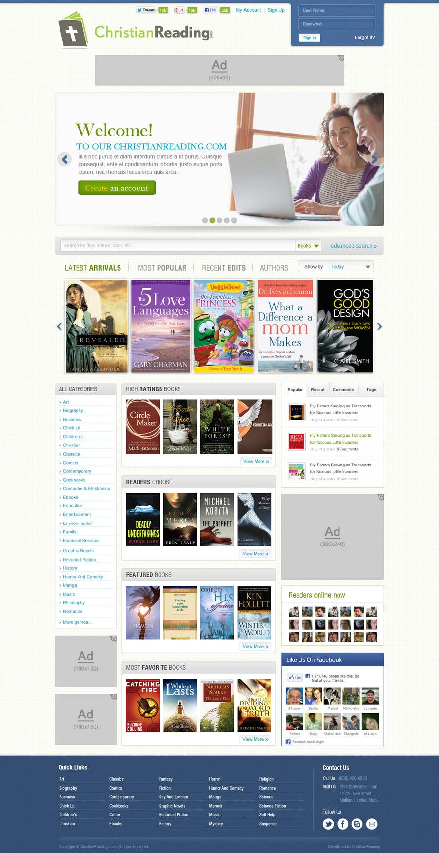 Contest Entry #                                        34                                      for                                         Christian Reading Website Home Page Design