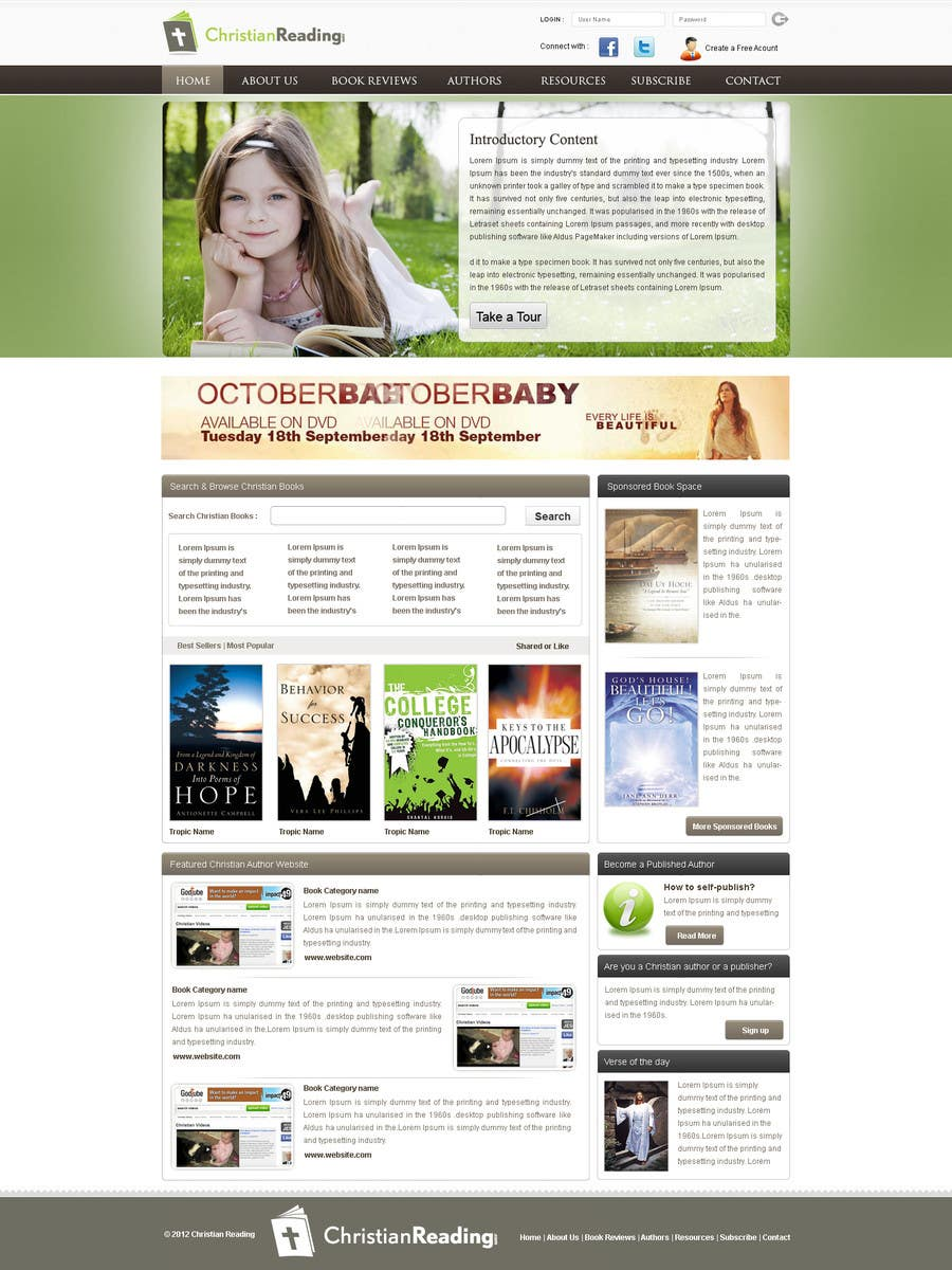 Contest Entry #                                        25                                      for                                         Christian Reading Website Home Page Design