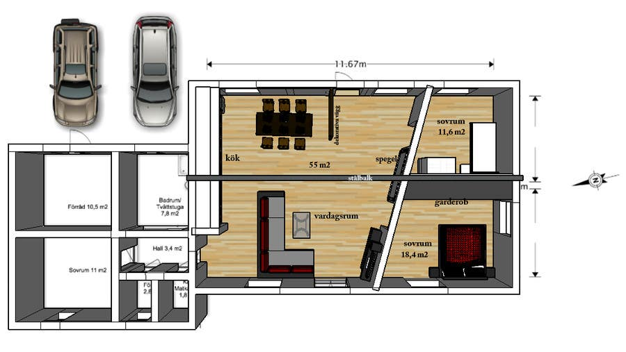Entry 2 by beniaminsas for update floor plan in existing for Floor plans for existing homes
