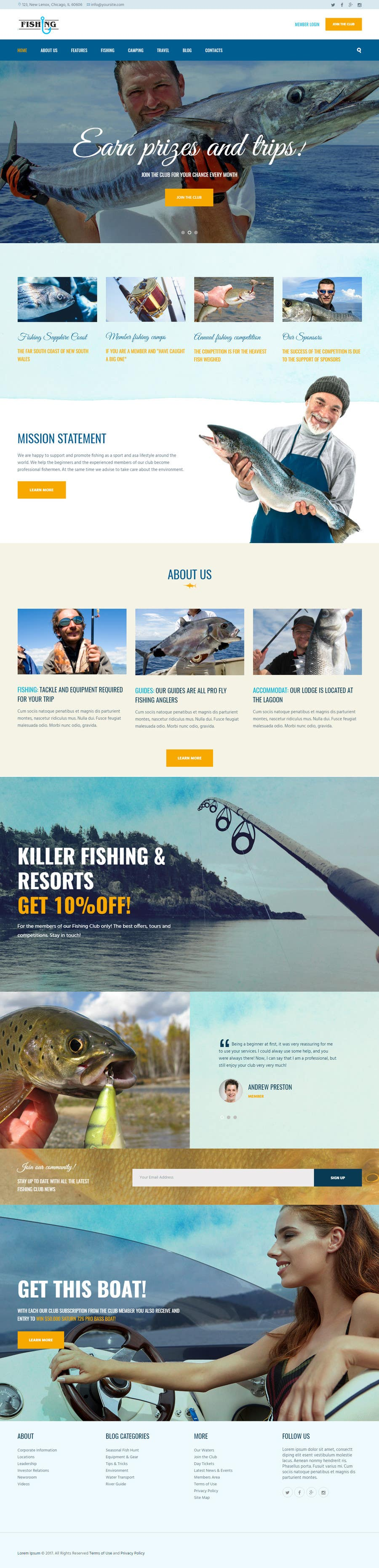 Contest Entry #7 for Design a Website Template with a Fishing Theme
