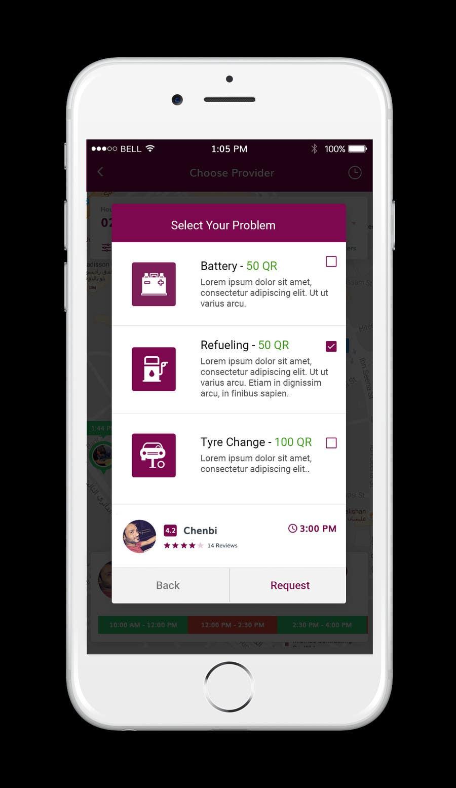 Proposition n°24 du concours Roadside assistance (Two App Screens)