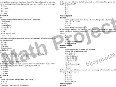 Exam Solution (Equation Writing): 1000 Math Question Scrape on the website.