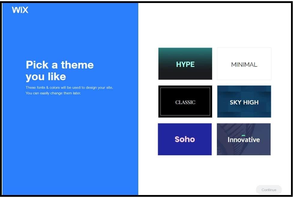 wix adi choosing website theme
