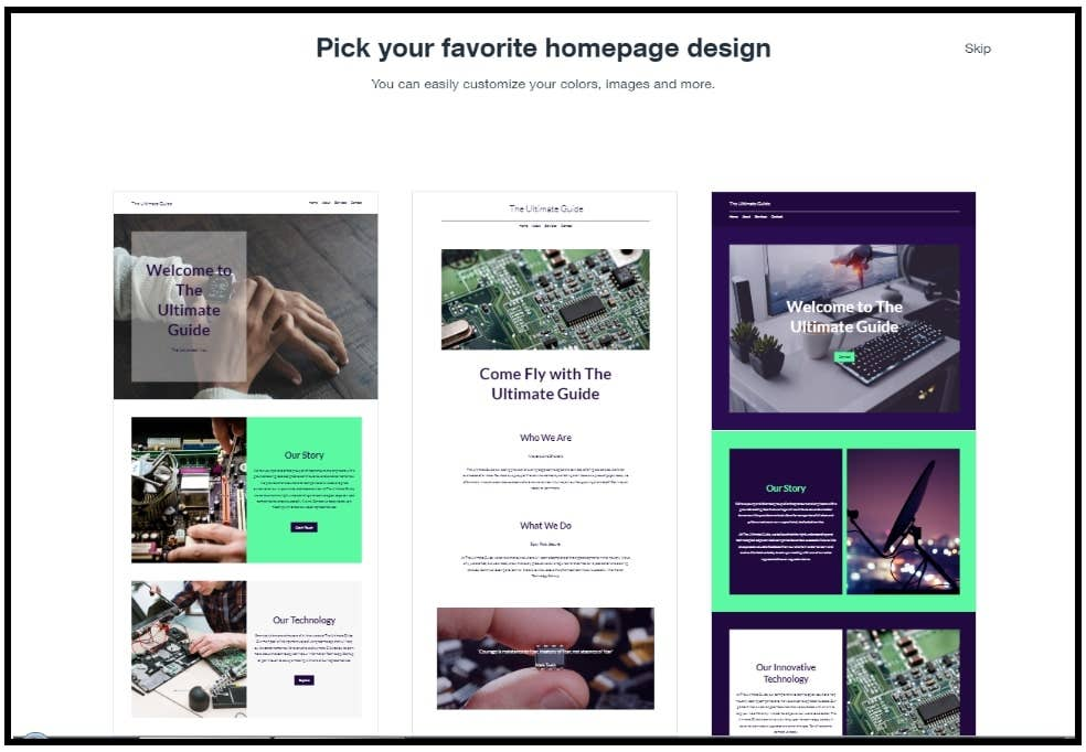 wix adi choosing homepage design