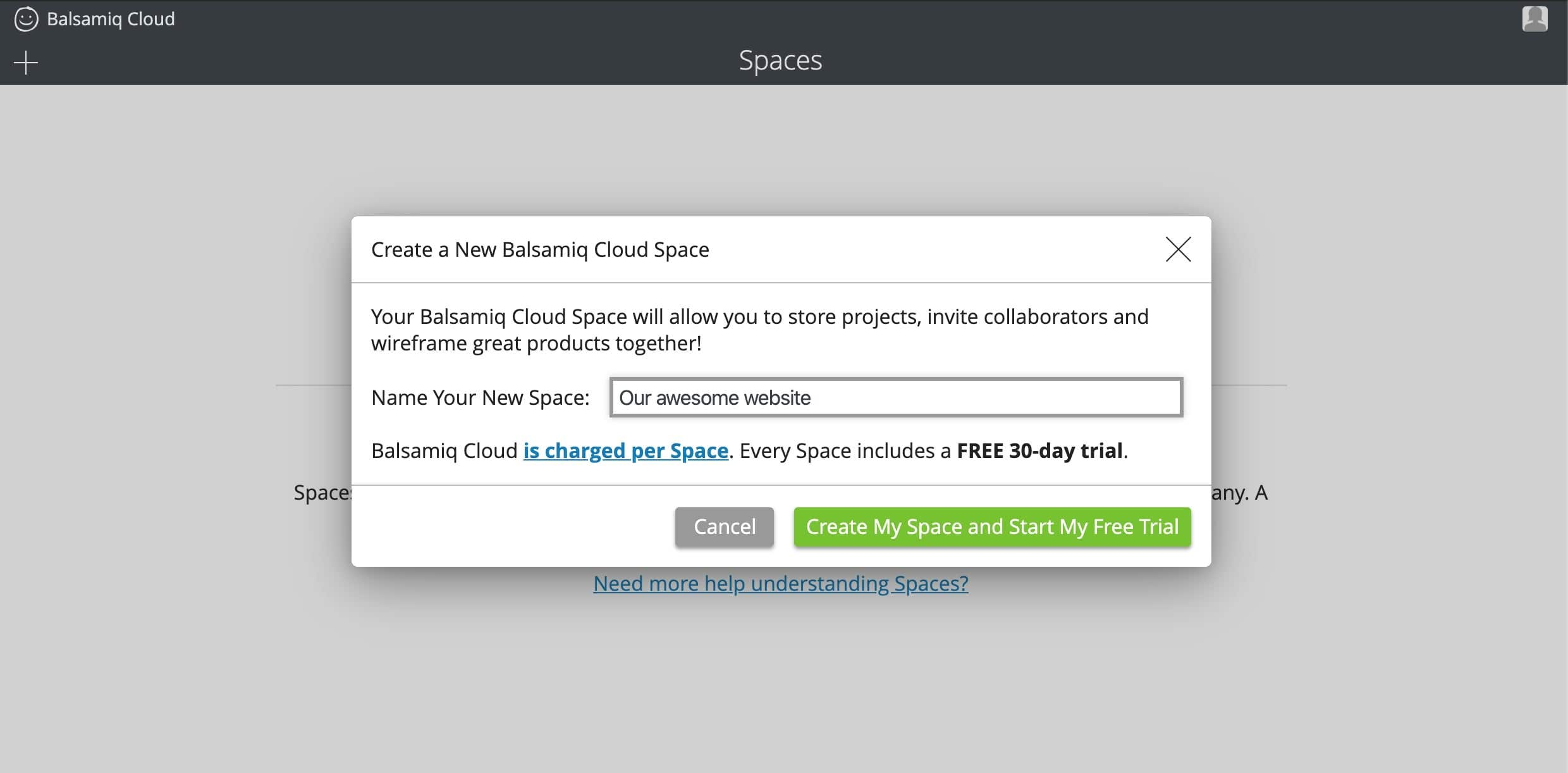 balsamiq create space