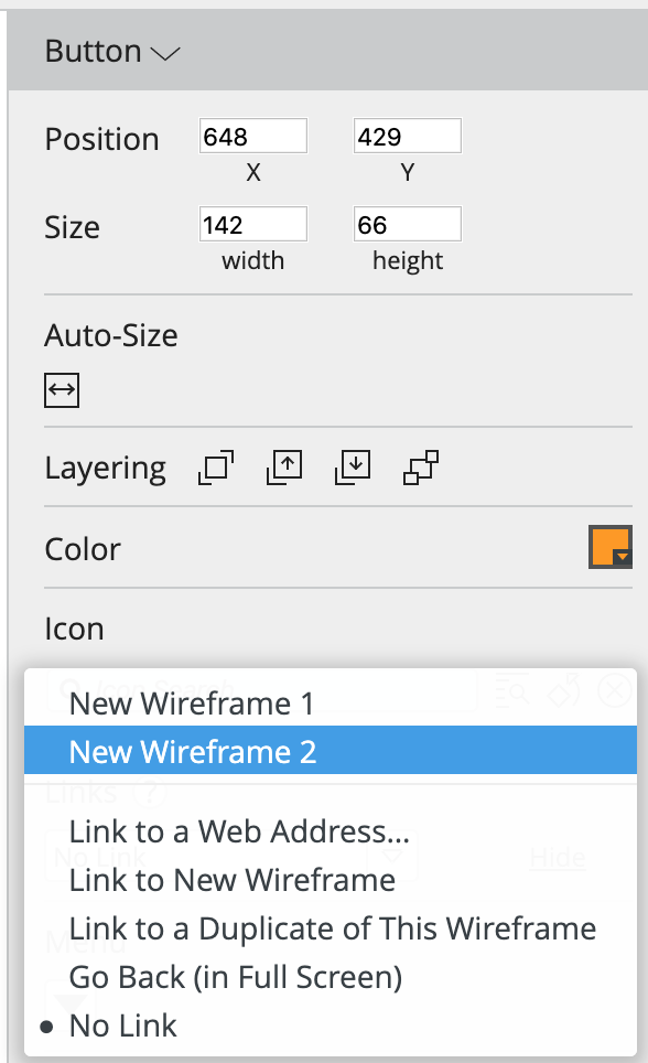 balsamiq link two wireframes