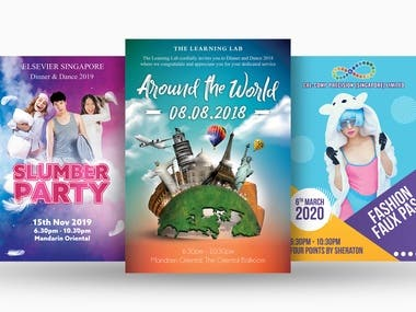 Posters and flyers for events, promotions, and malls.