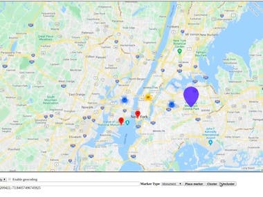 * Google Maps API * Clustering * Markers * GEO Location