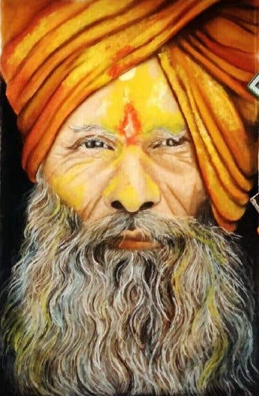 Painting of An Old Man, It was a competition in my district and i got 3rd prize