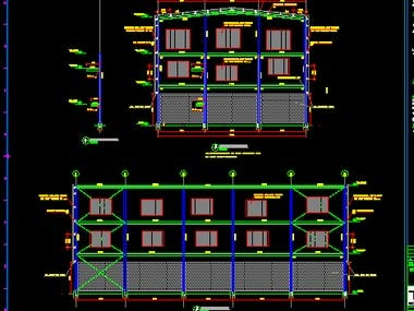 a steel structural design and detailing work for a steel factory will 3 floors. the steel factory contained 8 tanks on each floor .  I provided the steel design , connections design & all calculation reports and models.