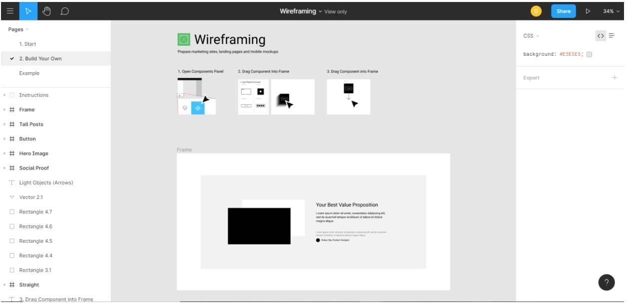 figma wireframing interface