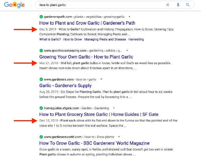 google last modified date serp