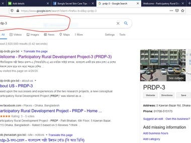 "I have already done a project in Participatory rural development project-3, BRDB, Dhaka.  I have done off page and on page SEO and Facebook page opening work.   you can search just- "" prdp-3"" you cand find these website in google first page.   site url: prdp-brdb.gov.bd"