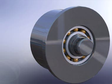 THIS IS A DESIGN OF TROLLEY WHEEL FOR JUMBO PRESS ROLL. THIS TROLLEY WHEEL IS ATTACHED TO DISTANCE PIECE OF PRESS ROLL BEARING HOUSING AND IT IS MOVE ON TROLLEY BEAM. SO FELT CAN BE INSERTED EASILY.