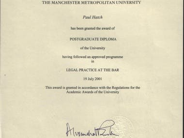 Postgraduate Diploma In Legal Practice at the Bar (Bar Vocational Course)  Grade: Very Competent