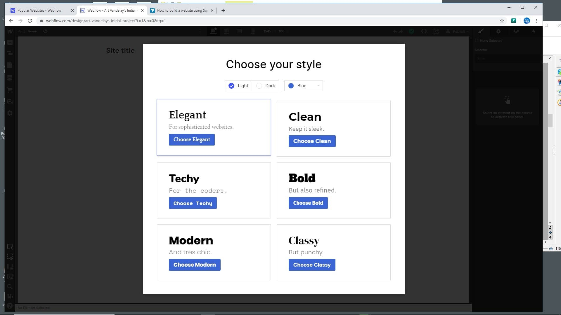Webflow choose style