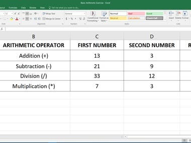 Excel Template of Sum, Division, Multiplication, Subtraction & Average & Interest calculation