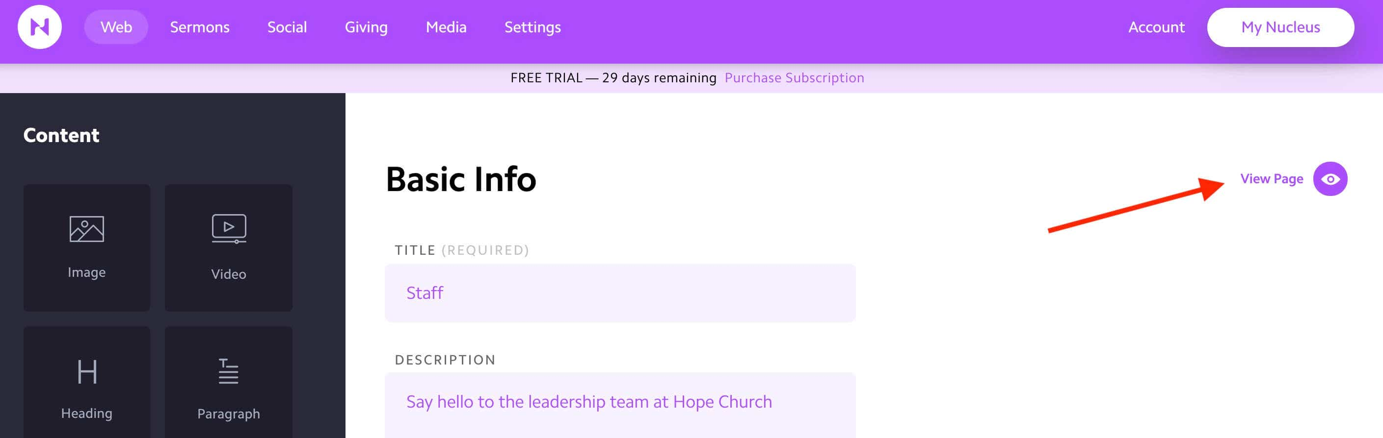 how to build a church website with nucleus