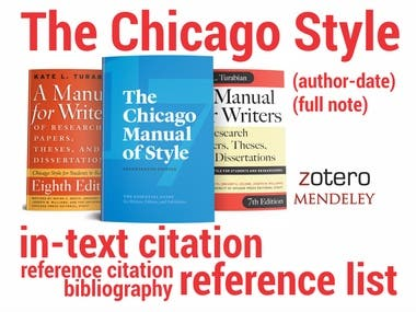 I Will Create Citations And Bibliography In Any Citation Style  I will create full citations/references for a particular reference manager (Zotero, Mendeley,EndNote,...) and send you a file from which you can import sources into your software.  PLUS, I will COMPLETE YOUR REFERENCES - if your existing references are not complete, i.e. if there are any missing details, I will do the research, find all referencing elements and make your REFERENCES FULL.  I WILL: Cross-check/complete your references  Create all the references in Zotero, Mendeley, EndNote, JabRef, Citavi... Send you a file in RefMan (.ris), BiBTeX (.bib), or EndNote (.xml)  Send you the Report generated from the Reference Collection (PDF)  All you need to do – send your sources or information on your sources and specify the preferred reference manager - I will do the rest, accurately and quickly.
