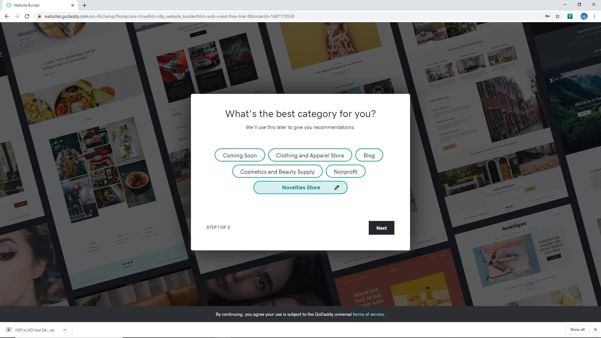 godaddy website builder how to category screen