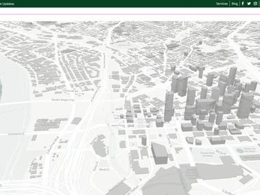 3D building web view mapping of City on mapbox map.