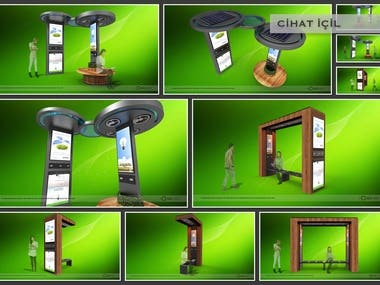 solar powered stall concept, illuminated advertising spaces, fan, usb areas for phone and computer charging, to grow and shrink according to the area to be positioned, to adapt to the environment.