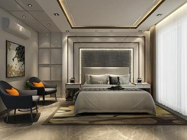 Bedroom Design. 3Dmodeling by 3dsmax  Rendering by V-ray engine