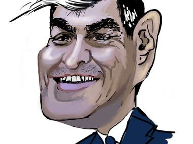 A digital Sketch of caricature of Spanish president