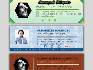 These are Email Signature Designs, depend on your needs and taste. I can design any type of email signature you want with HTML and CSS compatibility.