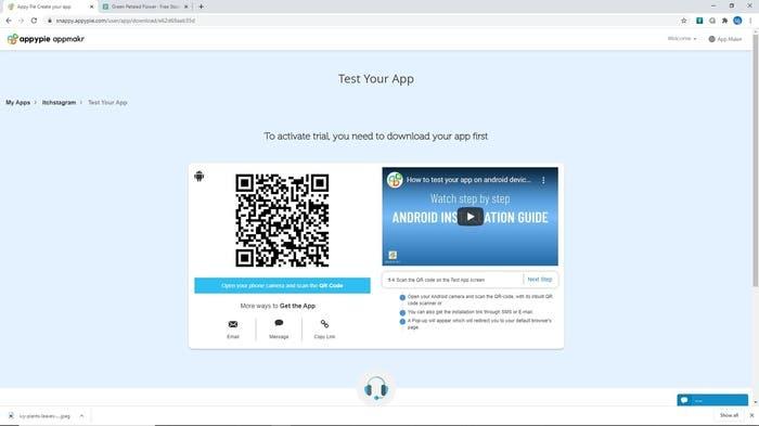 Appy Pie test your app