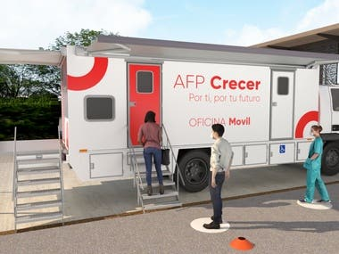 Mobile customer service office of a pension administration fund
