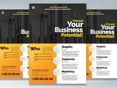 Ad your business with eye catchy flyers. Get people attraction through your flyers. For getting noticed by flyer, your flyer design should on high point. Feel free to contact me, if you need a flyer designed by your requirements.