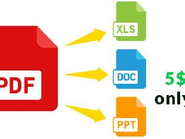 I specialize in converting PDF to Word, Excel, and PowerPoint.
