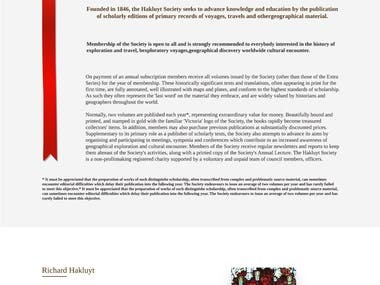 Landing Page for a history book reading website with bookmark and authors biography