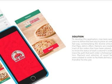 To develop this application, now tests were carried out for users to define the best way to place an order in an easy and fast way, contemplating the diverse amount of ingredients that Papa John's offers.  - Options are created to generate a track of the orders that have been placed, this allows them to know the status of each customer's order and be able to trace the path that each order is following, to get to the exact location.  - Payment and selection of saved locations modules were created in order to facilitate delivery stages to make a friendlier for the user.