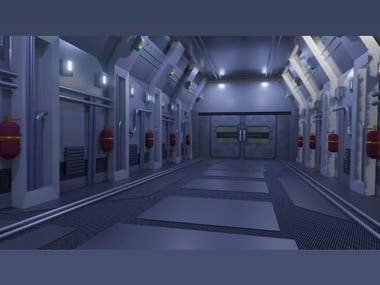 3d scifi scene created in blender for a short movie.