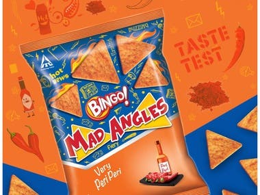 "There are different types of advertising techniques that these companies use in their campaigns. One such technique is to use a series of advertisements to promote a particular product or brand. ""Har Angle se Mmmm..."" One of the biggest successes from the Bingo! Portfolio, Bingo! Mad Angles has carved a niche for itself in the consumers mind and is synonymous with the perfect triangular snack.A combination of innovative flavours on a traditional khakra base, Mad Angles is a snack that is true to taste with perfect flavour delivery as well as shape, making it a snack that's truly ""Har Angle se Mmmm ..."""