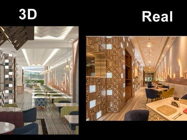 Real photo of a restaurant interior design VS 3d design done by me