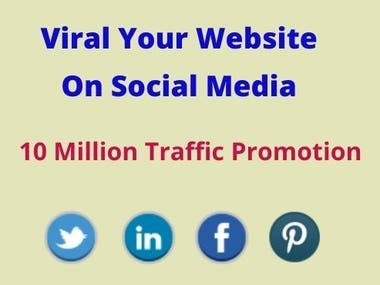 Hi  Are you looking for viral your website. Then you are exactly knocking in the right place. You will get professional service for me. The service is help to get real and organic worldwide traffic.  About the Works:  Real and genuine visitors Post website link in Facebook group Share your URL on Twitter trends Share your link to relevant LinkedIn Group Will share and use Pinterest for your weblink A good number of viewers for your website Will provide the proof with Excel File  Why Choose Me:  100% real and organic Result oriented Quick Response Provide proof of works Increase popularity of your website On time Delivery 24/7 Availability  Platform Use:  Facebook, Twitter, LinkedIn, Pinterest, Quora